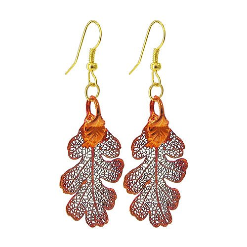 Gem Avenue Iridescent Copper Plated REAL 1 x 0.8 inch Lacy Oak Leaf French Wire Dangle Earrings