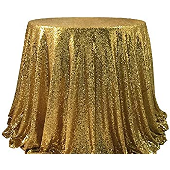 Amazon Com 72 Quot Round Sparkly Gold Sequin Table Cloth