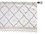 Saffron Marigold – Vanilla Glace – White and Gold Romantic Elegant Luxury Hand Printed – Sheer Cotton Voile Window Valance Curtain – Rod Pocket – (46″ x 17″)