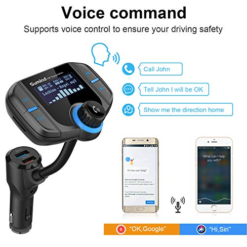 (Upgraded Version) Bluetooth FM Transmitter, Sumind Wireless Radio Adapter Hands-Free Car Kit with...