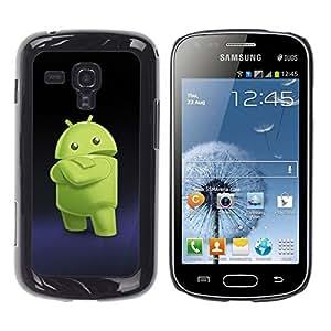 Be-Star Único Patrón Plástico Duro Fundas Cover Cubre Hard Case Cover Para Samsung Galaxy S Duos / S7562 ( Green Smartphone Alien )