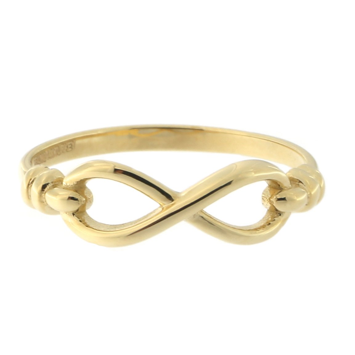 14k Yellow Gold Hooked Infinity Ring, size 9