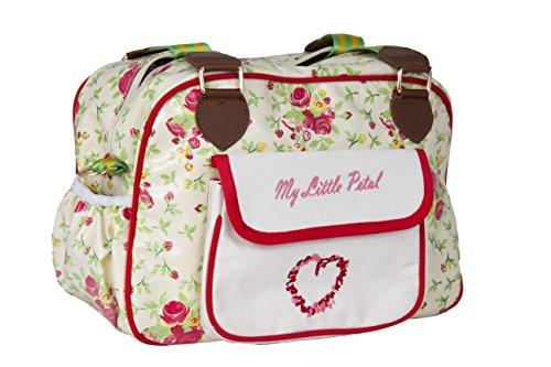 Kupu Nappy bolso cambiador, elegante laminado resistente al agua multifunción hombro bebé bolsa de pañales portátil bolso de compras con cambiador, cochecito correas, correa de llaves y con bolsillos  My Little Petal