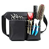 Leather Retro Large Professional Barber Salon Scissors Pouch Holster Holder Hairdresser Tool Bag with Belt