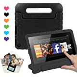 CAM-ULATA Amazon Kindle Fire 7 Case Tablet Kid-Proof (5th Generation 2015 Release Edition) kickstand EVA Shockproof Lightweight Folio Handle Stand Cover 7 inch for Kids Boys Girls Black