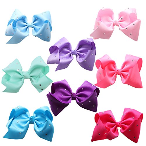FIRSTMEET Baby Girl Big Hair Bow 8 PCS Barrettes Clips for Newborn Infants Toddlers (FJ-1007) ()