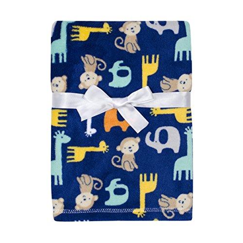 - Baby Gear Plush Velboa Ultra Soft Baby Boys Blanket 30 x 40, Safari Boy