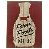 Barnyard Designs Farm Fresh Milk Retro Vintage Wood Plaque Bar Sign Country Home Decor 15.75'' x 11.75''