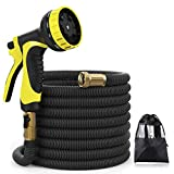 XBUTY Upgraded Water Hose,50ft Expandable Garden Hose, 9 Patern Spray Nozzle,High Pressure Extra Strength Fabric Double Latex Core 3/4'' Solid Brass Fittings with Carrying Bag