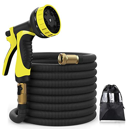XBUTY Upgraded Water Hose,50ft Expandable Garden Hose, 9 Patern Spray Nozzle,High Pressure Extra Strength Fabric Double Latex Core 3/4'' Solid Brass Fittings with Carrying Bag by XBUTY