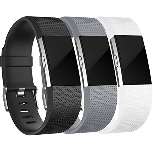 Bands for Fitbit Charge 2 (3 Pack), Black, White and Grey, Small