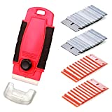EEFUN Mini Razor Scraper with 20pcs Plastic Safety Blades and 20pcs Carbon Steel Blades for Removing Vinyl Decals Stickers &Glue from Cars, Boats and Other Delicate Surfaces