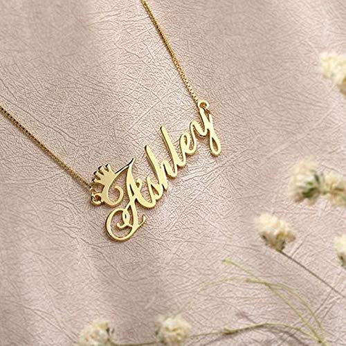 ButUnique Name Necklace Personalized with Crown Sterling Sliver Custom Made Nameplate Charm Jewelry for Women