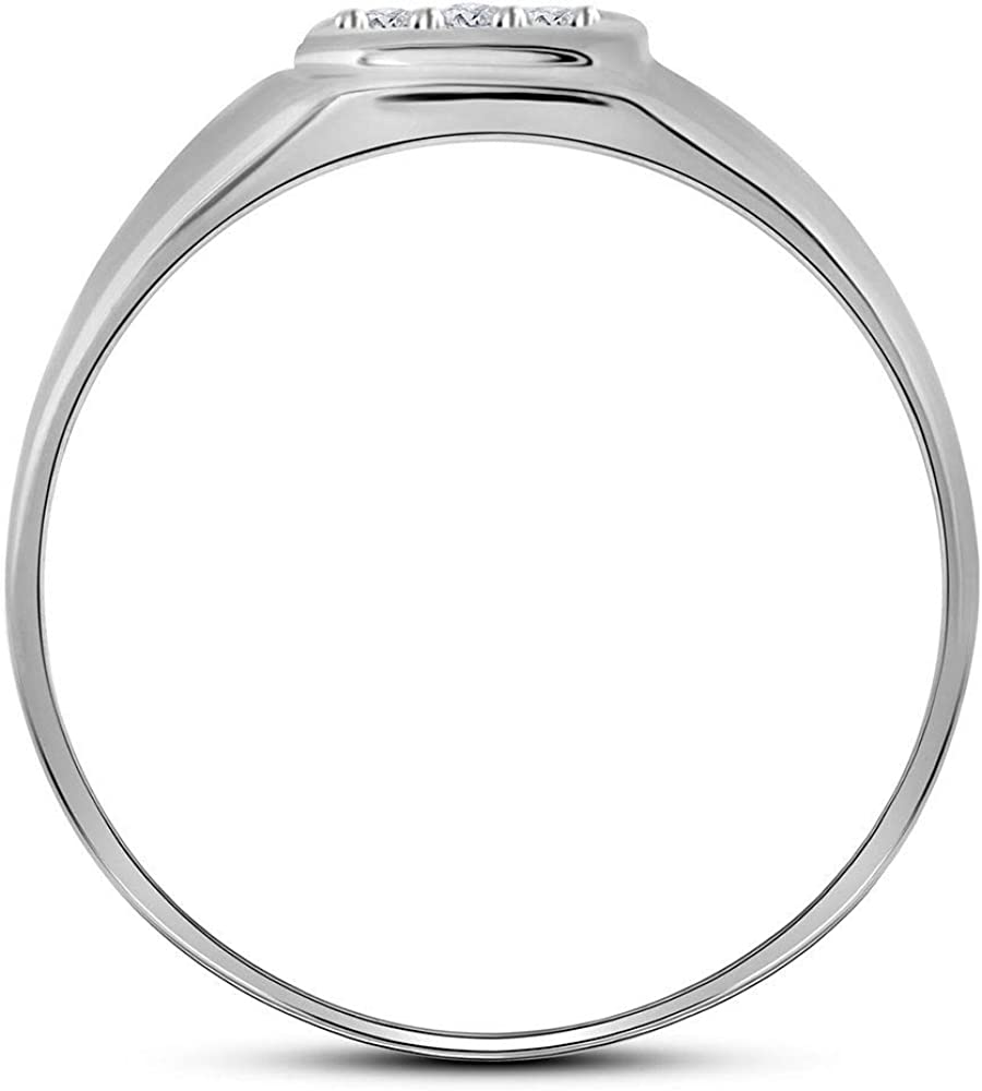 10kt White Gold Mens Round Diamond Brushed Matte Cross Band Ring 1//20 Cttw