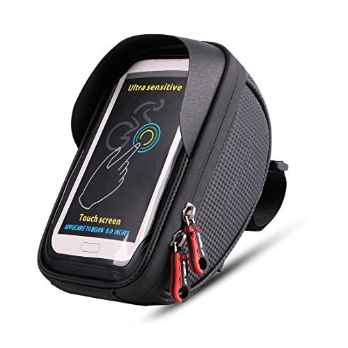 Bike Bag, Waterproof Touch Screen Bicycle Handbar Front Phone Frame Bag Holder For iPhone 7 Plus 6s 6 plus 5s 5 / Samsung Galaxy s7 s6 note 7 Cellphone Below 6.0 Inch With Sun Visor