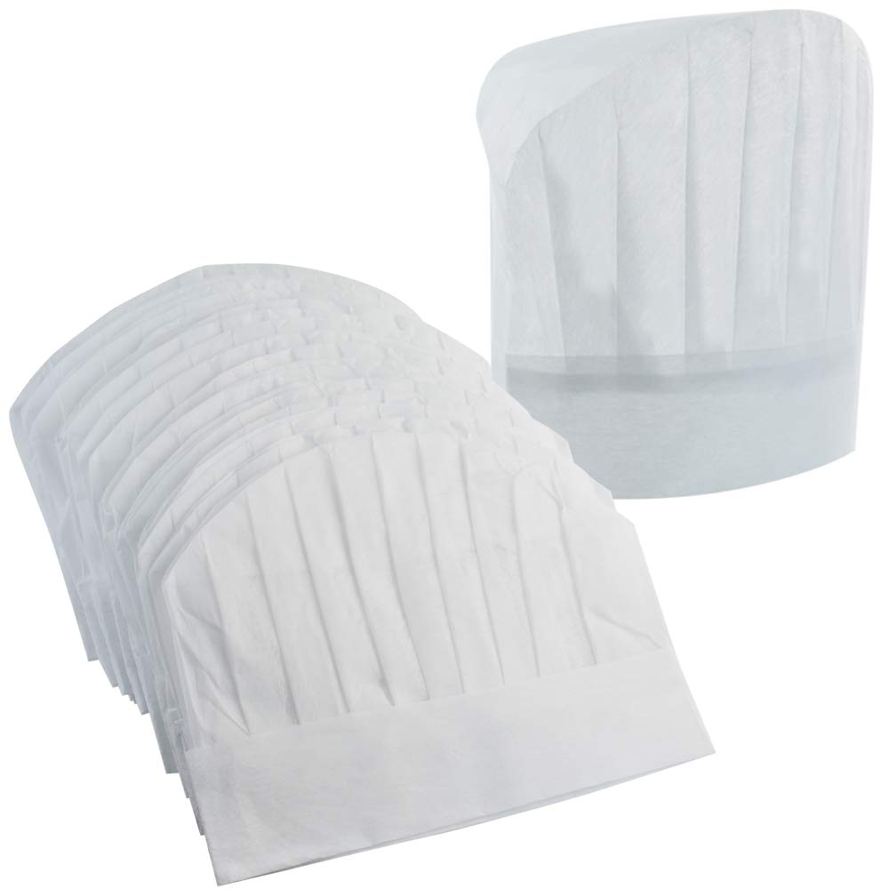 Chef Hats 40 Pcs Disposable Non-Woven Chef Supplies 9'' White Culinary Hat Kitchen Cooking Chef Caps for Home Kitchen,Restaurants,Food Occasions,Classes and Parties 23'' in Circumference by Lee-buty