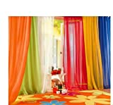 #7: 6 Piece Rainbow Sheer Window Panel Curtain Set Blow Out Pprice Special!!!! Lime, Orange, Red, White, Bright Yellow, Navy