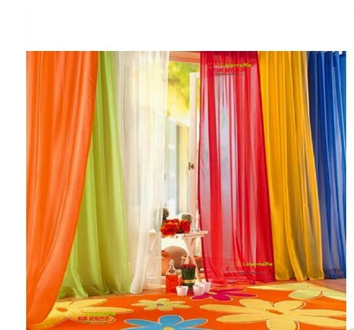 6 Piece Rainbow Sheer Window Panel Curtain Set Lime, Orange, Red, White, Bright Yellow, Navy