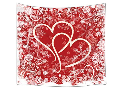 Wedding Love Tapestry Wall Hanging, Snowflakes and Heart Shaped, Romantic Wedding Love, Wall Tapestry for Bedroom Living Room Dorm Decor 71X60Inches, Red