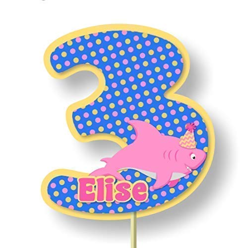 Personalized Pink Girl Baby Shark Birthday Party Cake Topper or Baby Shower Party Decorations - Optional Decorations Invitations, Banner, Favor Tags, Thank You Cards - Handmade in USA - BCPCustom ()