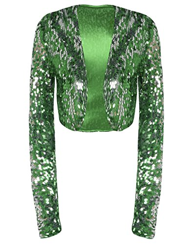 PrettyGuide Women Sequin Cropped Jacket Long Sleeve Sparkly Bolero DS Clubwear Green XL/US12-14 - One Button Jacket In Satin