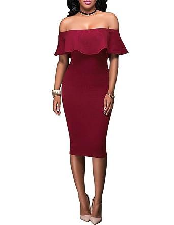 cd05ec6cf1b49 clubbing dresses Ruffles Plain Stretch Bodycon Midi Dress(XL, Win Red):  Amazon.co.uk: Clothing