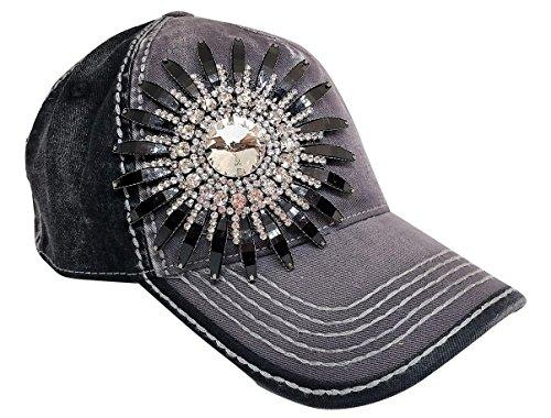 Olive & Pique Women's Deco Rhinestone Flower Bling Baseball Cap (Charcoal/Black)
