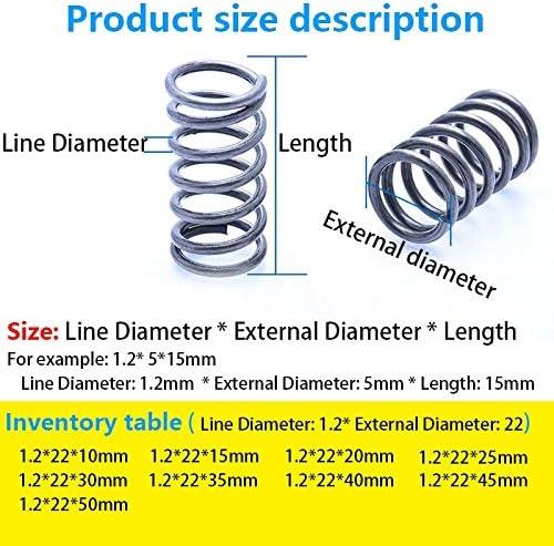 ZZB-LSTH, 10Pcs Druckfederstütze Individueller Rotor Druckfeder Linie Durchmesser 1,2 mm, Außendurchmesser 22mm, Länge 10mm-50mm (Size : 20mm(10Pcs))