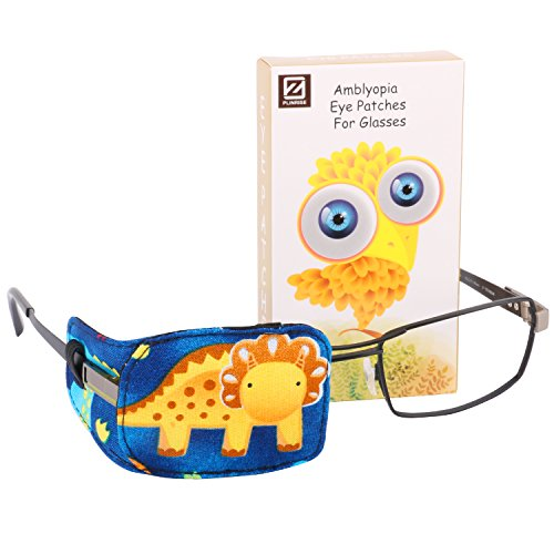 [Plinrise Cartoon Pure Cotton Reusable Eye Patches - Amblyopia Eye Patches For Glasses, Strabismus, Lazy Eye Patch For Children,Vision Care Eye Mask (Yellow Triceratops Right)] (Eye Patch Therapy)