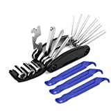 16  Multi-Function Multi Bicycle Tool,  3 pcs Tire Pry Bars Rods Set, Bike Cycling Mechanic Repair Tools Kit, Hex Spoke Wrench Mountain Cycle Screwdriver Tool