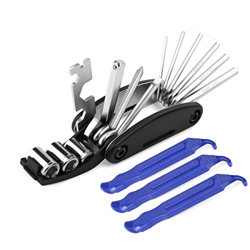 16  Multi-Function Multi Bicycle Tool,  3 pcs Tire Pry Bars Rods Set, Bike Cycling Mechanic Repair Tools Kit, Hex Spoke Wrench Mountain Cycle Screwdriver Tool by ezyoutdoor (Image #10)