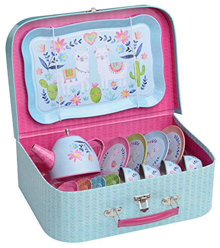 Jewelkeeper 15 Piece Kids Pretend Toy Tin Tea Set & Carry Case - Llama Design (Set Unbreakable Tea)