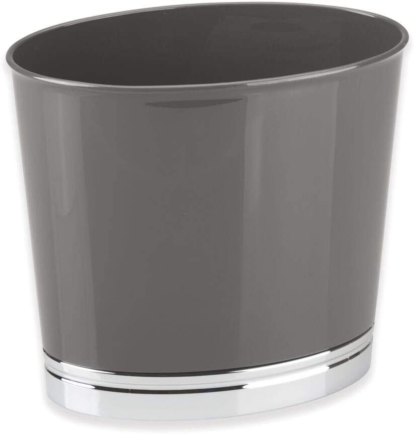Dorm Rooms Slate Gray//Chrome Home Offices mDesign Oval Slim Decorative Plastic Small Trash Can Wastebasket Kitchens Garbage Container Bin for Bathrooms