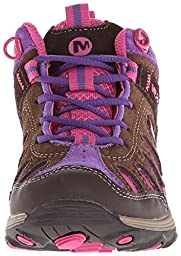 Merrell Chameleon Mid Lace Hiking Shoe (Big Kid/Big kid/Little Kid/),Brown/Pink,7 M US Big kid