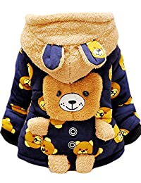 DDSOL Baby Boys' Winter Outerwear Bear Coats Fleece Hoodie Jacket 6M-3Y