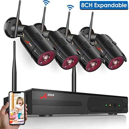 【2019 New】 Wireless Surveillance Camera System,1080P NVR 8 Ch Home Camera System with 4pcs 960P(1.3 Megapixel) Indoor/Outdoor Wireless IP Cameras, Easy Remote View, P2P, Free APP, NO Hard Drive ANRAN