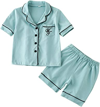 Toddler Kids Baby Boys Girls Summer Pajamas Sets Short Sleeve Shirt /&Shorts Satin 2 Piece Silk Sleepwear Nightwear