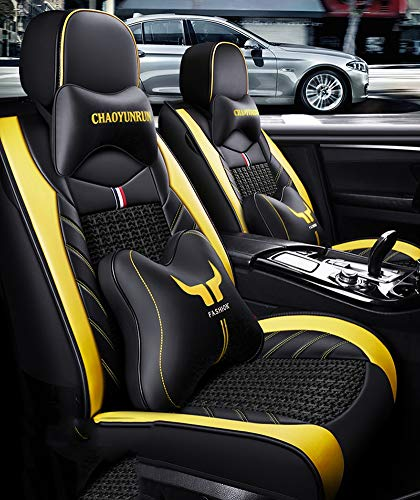 Leather Ice-silk Car Seat Cover- Anti-Slip Suede Backing Universal Fit Car Seat Cushion for Both Fabric and Leather Car Seats,Yellow: