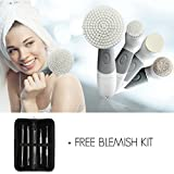 Facial Brush Set with 4 Heads, Anti Aging, Exfoliating Spin Brush plus Blackhead Extractor Kit