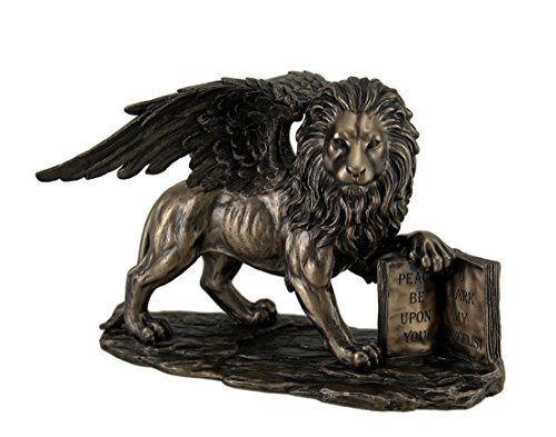 Resin Statues Lion Of Saint Mark Winged Lion Holding Open Bible Bronze Finish Statue 10 Inch 10 X 7 X 5.5 Inches Bronze - Bronze Lion Sculpture