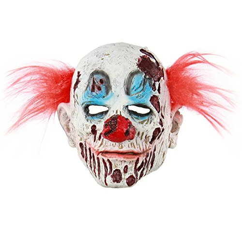 MICG Halloween Horror Demon Joker Mask Scary Cosplay Evil Circus Clown Mask (Red Hair)]()