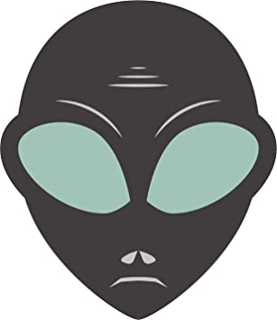 Pack Sticker 2 Grey Alien Head Vinyl Decal TWO