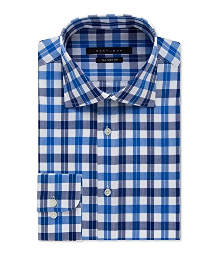 (Sean John Men's Tailored Fit Exploded Check, Blueberry,)