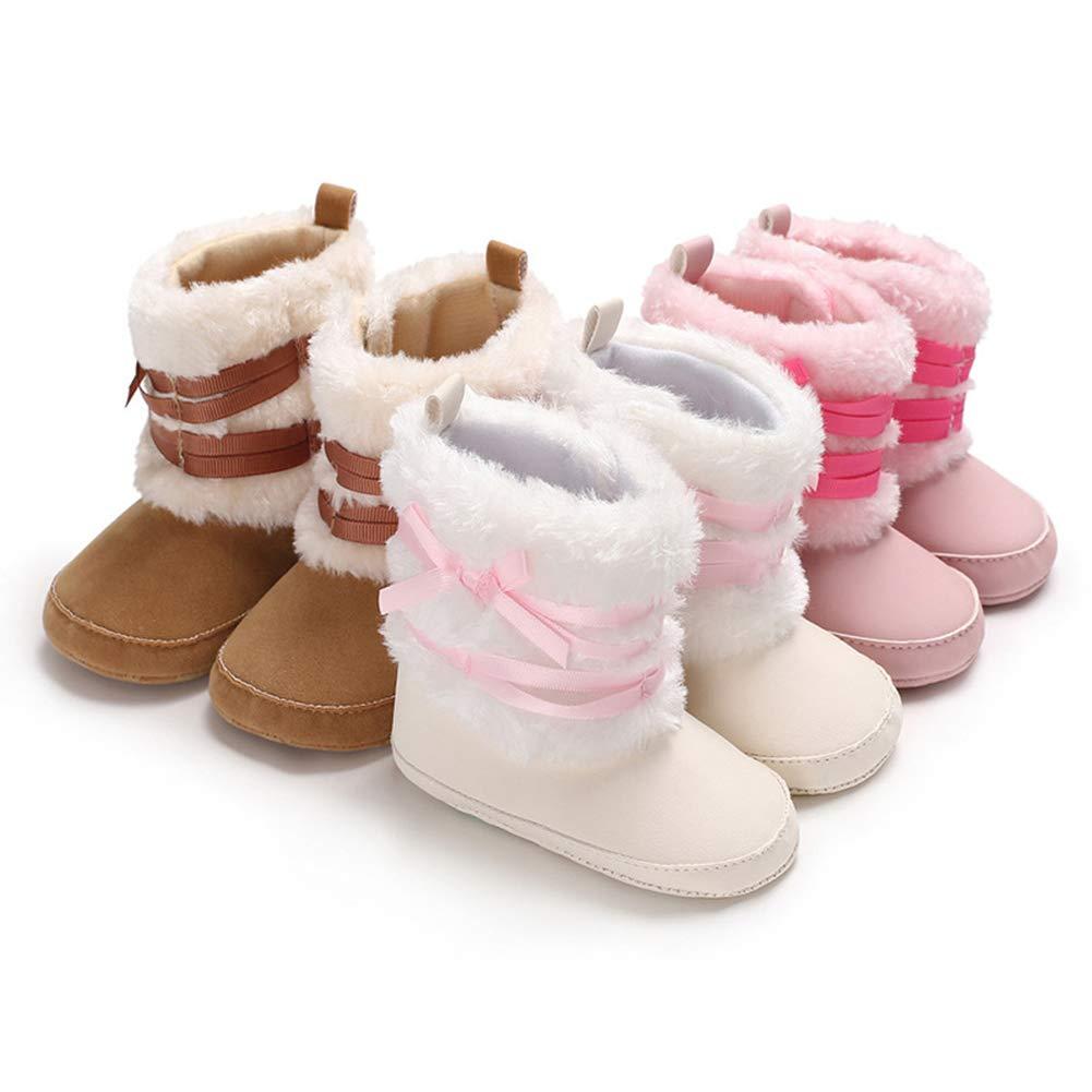 Alamana Fashion Infant Baby Girl Winter Bowknot Anti-Slip Prewalker Toddler Shoes Boot Gray 13cm Pink