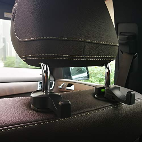 A ABIGAIL Car Headrest Hooks Universal Vehicle SUV Organizer Car Back Seat Headrest Hanger Holder Hook for Bag Purse Cloth Grocery-Black Set of 2 A7836F