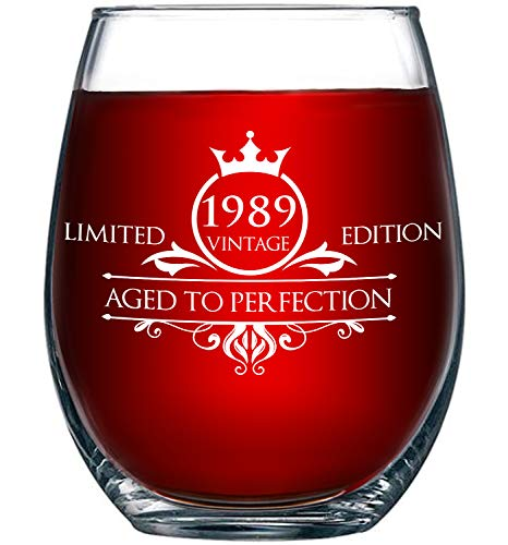 1989 30th Birthday Gifts for Women and Men Wine Glass - Funny Vintage Aged To Perfection - Anniversary Gift Ideas for Mom Dad Husband Wife – 30 Year Old Party -