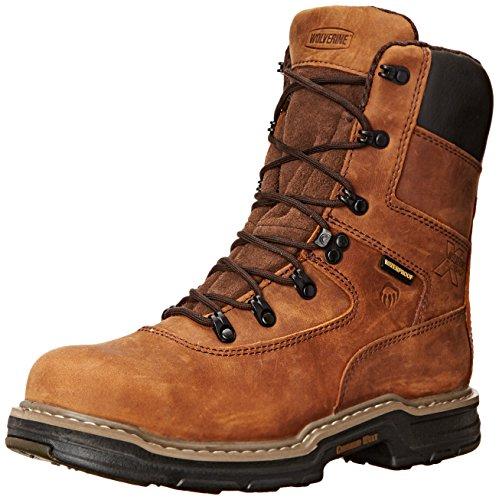 Wolverine Multishox Waterproof Steel Toe (Wolverine Men's Marauder 8 Inch Contour Welt Steel Toe EH Work Boot, Brown, 10 M US)