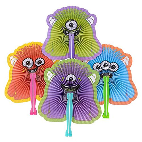 Kicko 10 Inch Folding Monster Paper Fan - 12 Pieces of Accordion Style Assortment - Perfect for Halloween, Festival, Birthday, School Events, Party Favor and Supply -