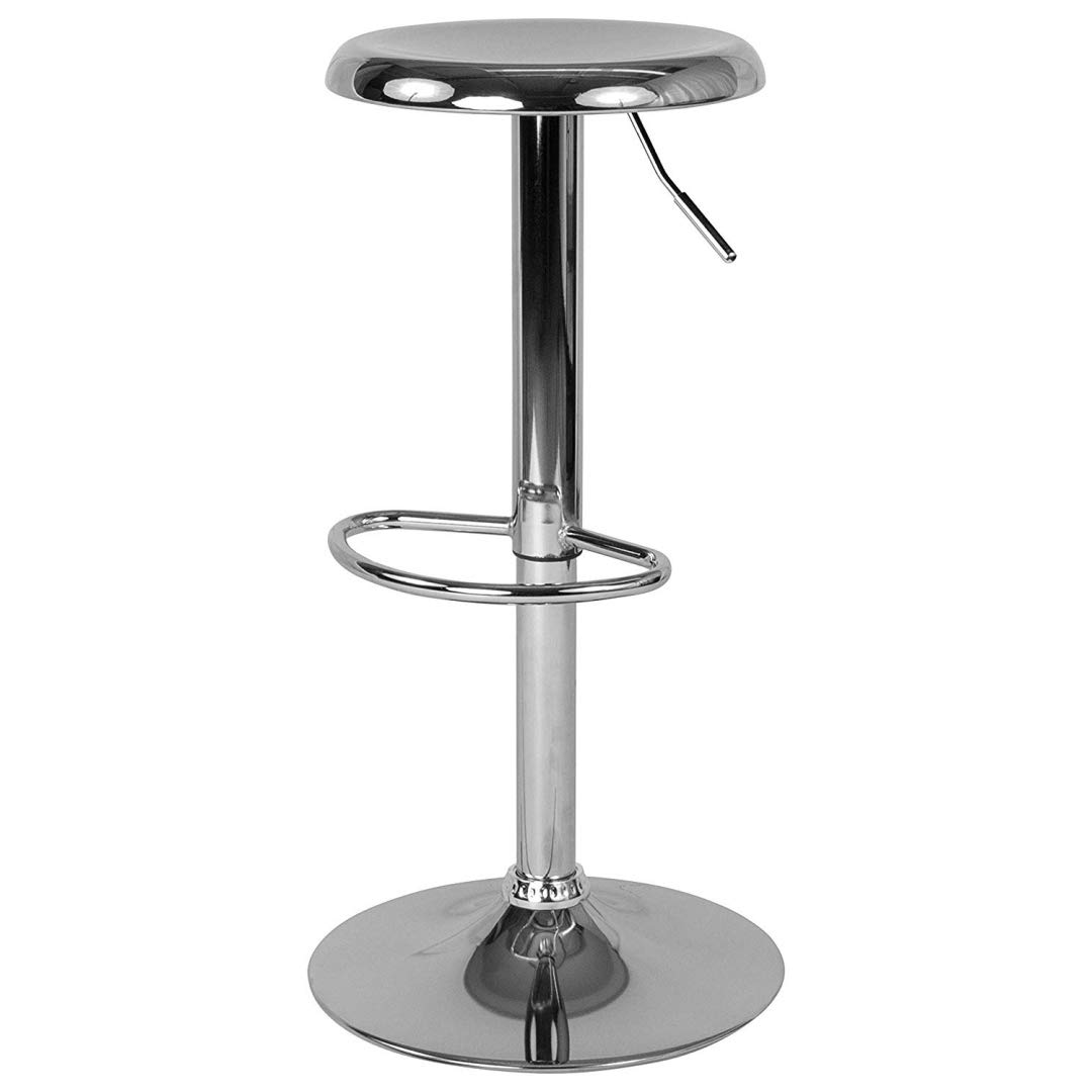 Contemporary Classic Design Metal Dining Round Backless Bar Stools Adjustable Height Swivel Seat Lounge Restaurant Diner Commercial Home Office Furniture - (1) Chrome #2205