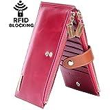 Borgasets RFID Blocking Women's Genuine Leather Zipper Wallet Card Case Purse